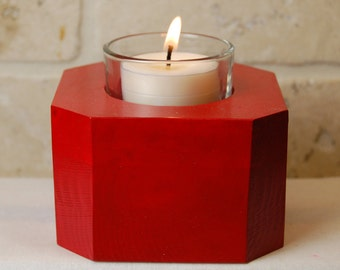 Christmas Red or Green Glass Tea Light Candle Holder