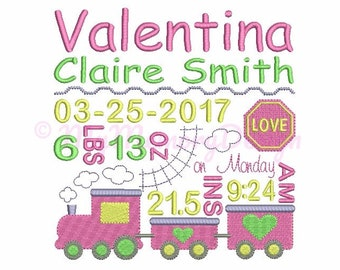Train Baby Birth Template  Announcement Embroidery Design - Baby Girl Subway Art - Machine Embroidery Pattern - Instant download 3 size