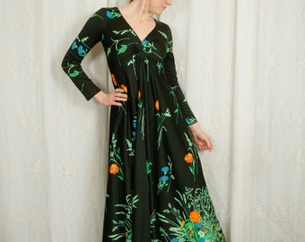 1970s Deadstock Black Floral Maxi Dress - Small