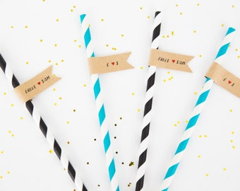 Custom Wedding Straws with Flags . Custom Wedding Paper Straws . Wedding Straws .