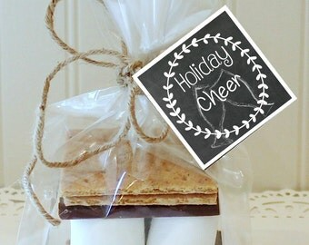 S'mores Kits, 12 S'mores Favor Kits, Christmas S'mores Kit, HOLIDAY CHEER Tags S'mores Favors, Christmas Favors, Holiday S'mores Party Favor