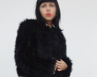 Black Fluffy Jacket/Ostrich Feather/Vintage Fluffy Jacket/Ostrich Bolero/Vintage Jacket