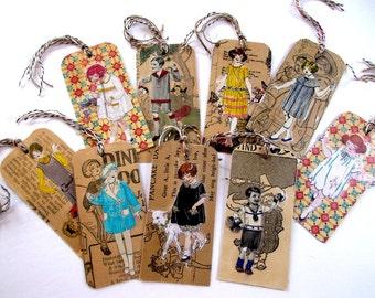Bookmarks, Unique, Antique Handcrafted Vintage Embellished, Set of Nine, Not Photocopied, Children Bookmarks, Childrens' fashions