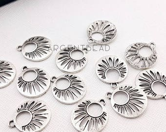 10pcs 23mm Hill Tribe Charms - Fine Silver Charms with Radiating Design