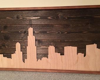 Wooden Chicago Skyline