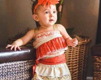 Moana Costume, Moana Dress, Hawaiian Princess Costume, Moana Birthday, Moana Dress-up, Infant Moana, Toddler Moana, Girls Moana