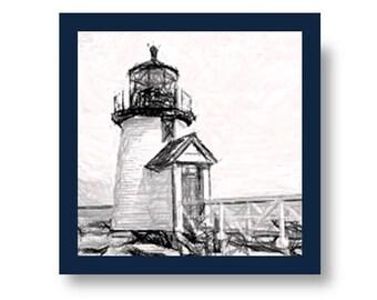 Nautical Brant Point Nantucket Lighthouse Tile Coaster - Handmade, Beach House, Sail Boat