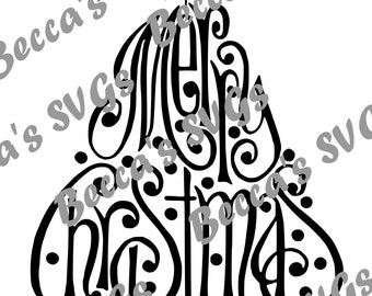 """1 Color/Layer """"Merry Christmas"""" Tree SVG"""
