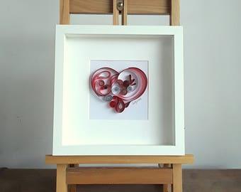 Paper Quilling Wall Art - LOVE HEART. Wall Art Décor, Quilling Art, Paper Art