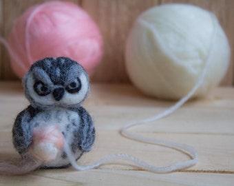 SALE Felted wool owl Ornament Mini needle felted owl Needle felted animal  wool toy