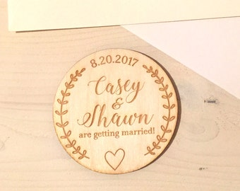 Save The Date Magnets - Custom - Wooden - Rustic