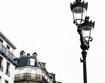 Paris Lamp Post Photography - Paris Rooftops - Wall Art Print - French Decor - Architecture - Fine Art Photography  - Lampadaire - 0009