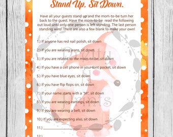 stand up sit down game watercolor fox fox baby shower baby shower