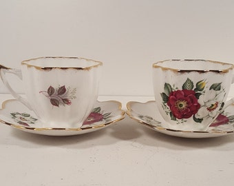 Set of 2 vintage floral Imperial bone china teacups and saucers; Made in England