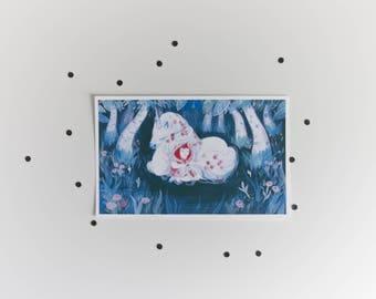 A5 unicorn giclée art print - magical creature - acrylic painting - forest - cute