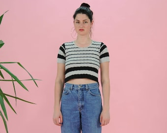 FREE SHIPPING Striped Crop Top - Blue and white Shirt - Hipster Crop Tops