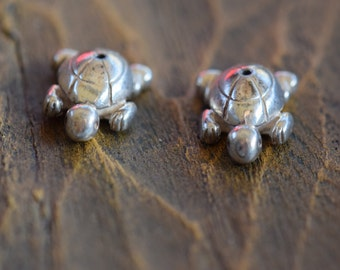 Turtle Animal Fetish Beads - Sterling Silver 925 - Set of 2 Beads - Craft Supply