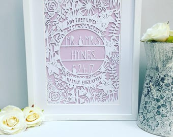 Framed Wedding papercut, wedding gift, wedding present, personalised wedding gift, handmade wedding gift, wedding frame, unique wedding gift