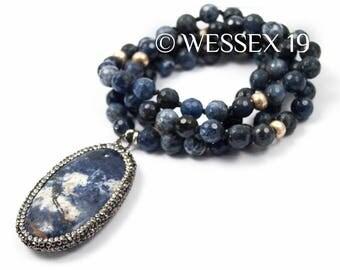 Pavé Sodalite Necklace | Blue Statement Necklace | Long Beaded Necklace | Beaded Gemstone Necklace | Long Blue Stone Necklace