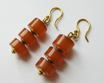 Vintage earrings, vintage amber earrings, amber earrings, goldplated earrings, womens earrings, amber