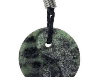 Green Zoisite Yin Yang Pendant Hand Carved Natural Gemstone Jewelry Gift