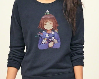 Undertale Frisk With All Character Sans Papyrus Undyne Pocket Version Game Inspired Sweatshirt. Unisex Apparel