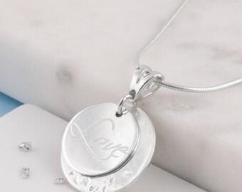 Silver love memorial necklace