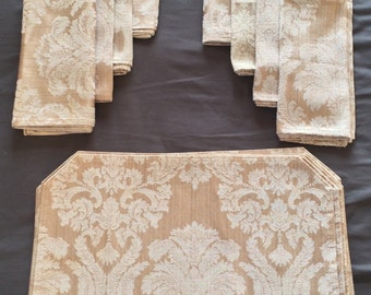 """Vintage Gold Reversible Damask Napkin set of 7  18 x 18.5"""" with 7 Placemats"""