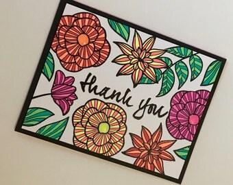 Handmade Floral Thank You Card