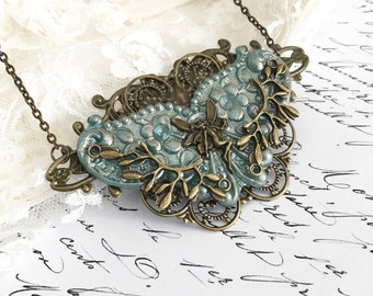 Art Nouveau/Vintage Style Bronze & Blue Tone Filigree Necklace/Pendant, Fairy, Dragonfly, Metal Stamping