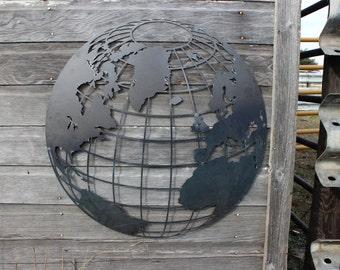 World Globe Metal Wall Decor