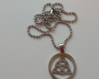 Infinity pagan silver necklace pendant Celtic knot