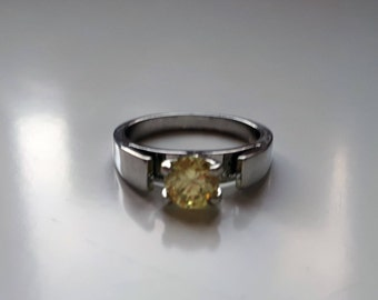 Snow white inspired yellow crystal jewel silver ring once upon a time