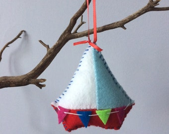 boat ornament, kid ornament, baby ornament, nautical decor, felt ornament, holiday ornament, ornaments for kids, personalized