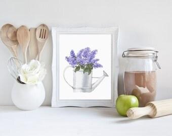 Printable Wall Art, purple wall art, purple wall decor, purple, watercolor flowers, purple plints, lilac, spring decor, prints wall art