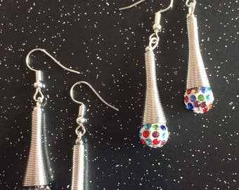 Crystal Shamballa Earrings with silver cone feature