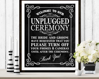 Unplugged Ceremony Poster - INSTANT DOWNLOAD - Wedding Art Simple Chalkboard Sign with 3 sizes included, no cameras, social media, phones