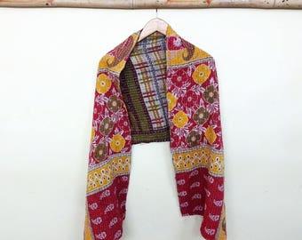 Handmade Cotton Scarf, Kantha work Scarf ,Neck Wrap ,head wrap ,Stole Dupatta Collar , head band