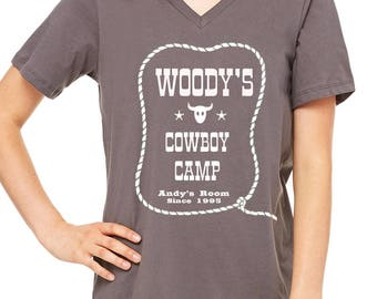 Ladies Relaxed Vneck Woody's Cowboy Camp Shirt Toy Story Shirt Pixar Shirt Disneyland Shirt Disney World Shirt Magic Kingdom Shirt