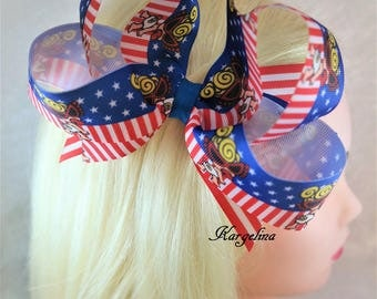 Extra Large 6.5 Inch Hair Bow USA Hair Bow American Flag Bow 4th July Independence Day Hair Clip Baby Girls Hair Bows Boutique bow Headwear
