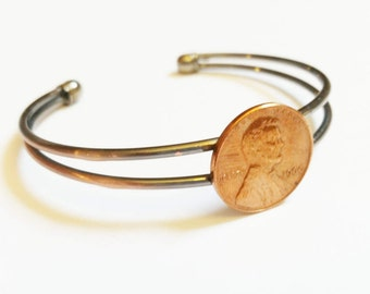 Coin Bangle Cuff US Penny Bracelet 40th Birthday 50th Birthday 25th Anniversary Coin Jewelry Copper Birthday Gift Graduation