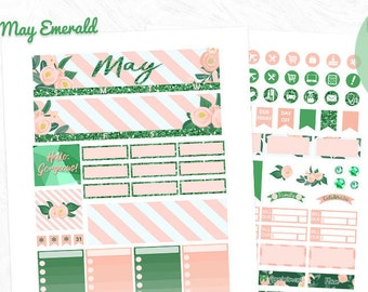 May monthly view kit, 40% OFF Printable planner stickers, Emerald, Floral planner, use with Erin Condren, Spring, pink chic, glitter, Green