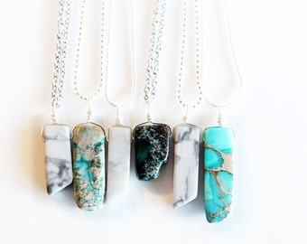White Howlite and Blue Jasper Necklace, Marble Necklace, Gemstone Necklace, Turquoise Stone Necklace, Boho Jewelry, Crystal Necklace, Gypsy