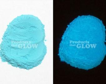 Sky Blue to Neon Blue Glow In The Dark Powder Pigment Waterproof Strontium Aluminate Encapsulated Europium Nails Art Water Paint Jewelry