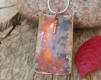 Reversible hammered copper colored rectangle pendant