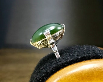 Green Art Deco Ring   Mothers Day Ring   Vintage Jade Ring   Her Jade Jewelry   Green Jade Ring   Vintage 1930s Ring   Size 7 Ring
