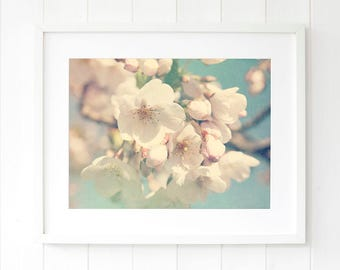 Large cherry blossom wall art, pastel wall art, romantic art bedroom, new apartment decor, cherry blossom print gift, cherry blossom