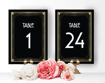 Art deco table numbers great gatsby table numbers wedding table numbers table number cards table numbers 1-24 art deco great gatsby table nr