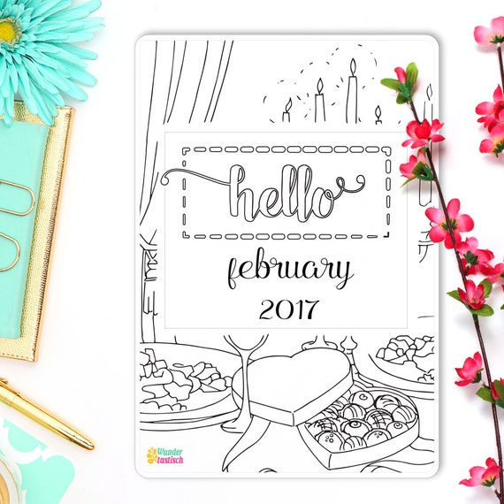 hello february bullet journal coloring sticker insert