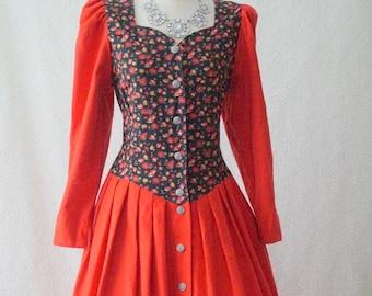 Vintage German red regal floral steampink victorian costume dress 12-14